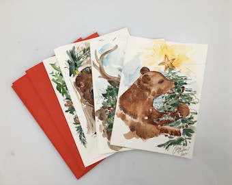 Hand-painted Forest animals Christmas Watercolor card set