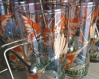Vintage Mid Century Culver Butterfly Tumblers with Caddy