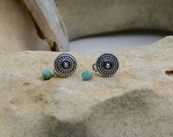 Sterling Silver Braided Button Earrings with Faceted Turquoise Glass Drop