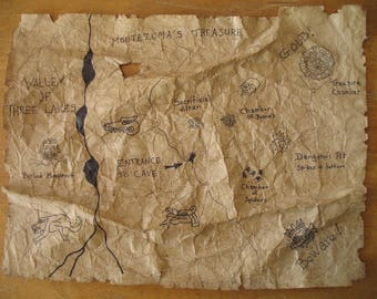 Hand Drawn Indiana Jones Style Adventure Treasure Map - Aztec - Montezuma