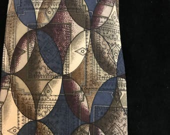 GEOFFREY BEENESoft silk tie in brown burgundy beige and black