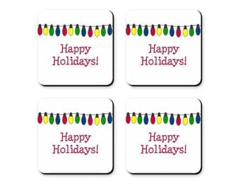 Holiday Coasters - Set of 4 - Happy Holidays