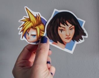 Final fantasy sticker, video games sticker pack, stickers for laptop, gift handmade, gift for her, gift for him, cloud ff vii fanart