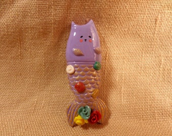 Purrmaid, Cat Mermaid, Mermaid Kitty, Cute mermaid cat, cute sea gifts, adorable purrmaid, cute purrmaid, purrmaid jewelry, clay purrmaid