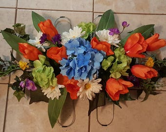 Cemetery arrangement etsy spring cemetery headstone saddle on stainless frame spring floral memorial gifts easter negle Gallery