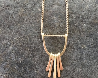 Hammered brass necklace with brass fringe