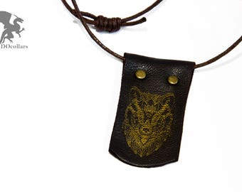 Handmade leather necklace with engraved golden wolf mask