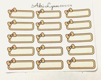 Pastel Orange Bow Quarter Box Planner Stickers; for Traveler's Notebooks, Erin Condren, Happy Planner