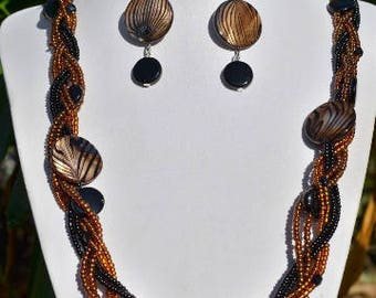 set of Brown and black braided