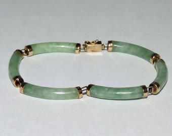"Vintage Estate 14k Yellow Gold 7 1/4"" Bracelet With 6 Light Green Jadeite Segments 10.91 Grams"