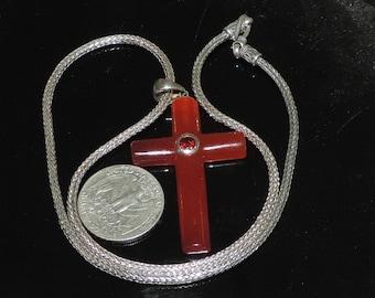 Vintage Estate Sterling Silver Red Jade Garnet Cross Necklace 24.31 Grams 18 Inches