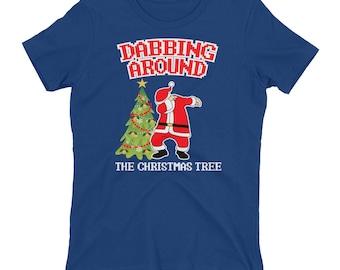 Dabbing Around The Christmas Tree Women's T-shirt // Dabbing Santa Claus Tee // Christmas Holiday Shirt // Christmas Gift Idea