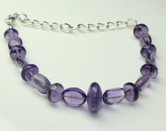 "Natural Amethyst Fancy Bracelet, Shape- Oval briolette & Round Beads 5"" Inches Bracelet Size- 7 mm To 12 mm"
