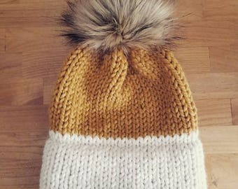 MADE TO ORDER Slouchy Hat | Chunky Knit | Winter Hat | Wool Hat | Faux Fur Pom Pom | Beanie | Toque | Knit Hat