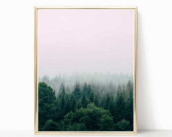 Forest Print, Nature Print, Forest Photography, Digital Print, Trees, Fog, Boho Print, Nature Lover, Forest and Fog, Wall Art, Nature Art