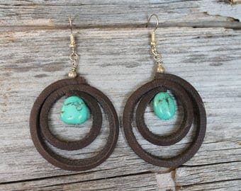 Turquoise and Leather Earrings
