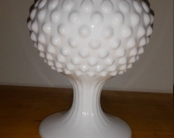 Vintage White Milk Glass Hobnail Compote/Dish/Candy Dish