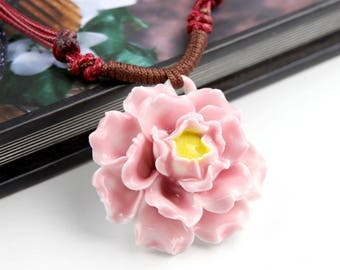 Handmade Porcelain Flower Necklace (Pink Peony)