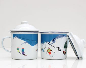 Skiing Enamel Mug  |  Outdoor Mug  |  Enamel Mug
