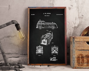 Firetruck 1939 Patent Poster, Truck Nursery, Fire Truck Wall Art, Fire Department, Fire Engine, Firefighter Baby - Wall Art - Blueprint