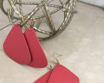 Coral Triad Leather Earrings
