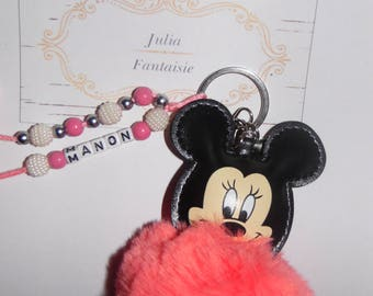 Pompom mouse Keychain personalized