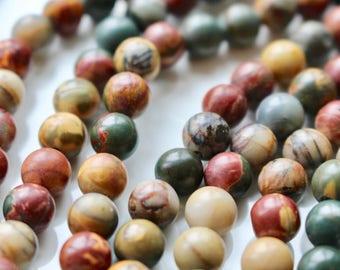 6mm Picasso Jasper beads, half strand, natural stone beads, round, 60068