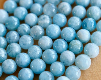 8mm Aquamarine beads, Grade A, full strand, natural stone beads, round, 80155