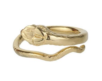 Yellow Gold Plated Solid 925 Sterling Silver Adjustable Snake Ring