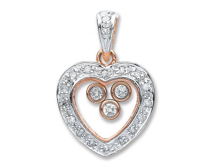 9ct Rose Gold 0.17ct Floating Diamond Heart Pendant
