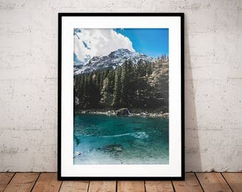 Mountain Lake Digital Print, Nature Poster, Alps, Nature Photography, Home Decor, Forest Wall Art, Mountain Snow, Green Blue Water, Clouds