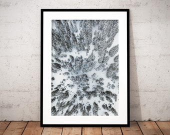 Winter Forest Digital Print, Austria, Alps, Snow Poster, Mountain Printable Wall Art, Home Decor, Drone Photography, Nature Prints, Snow