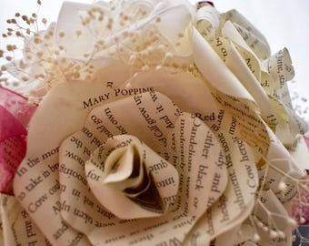Bridal Bouquet made from Book Page Paper Roses, Comic Book, Maps, Wedding, Personalised, Everlasting Wedding Flowers