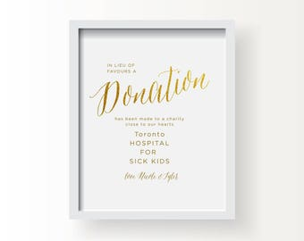 8x10_Gold Wedding Sign_Donation message