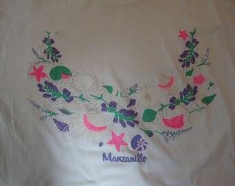 Vintage 90's Manzanillo Mexico Tourist Souvenir Sea Shells Beach White T Shirt Size L