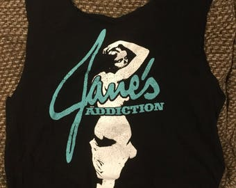 "Tote bag made from a repurposed ""Janes Addiction"" tee shirt"
