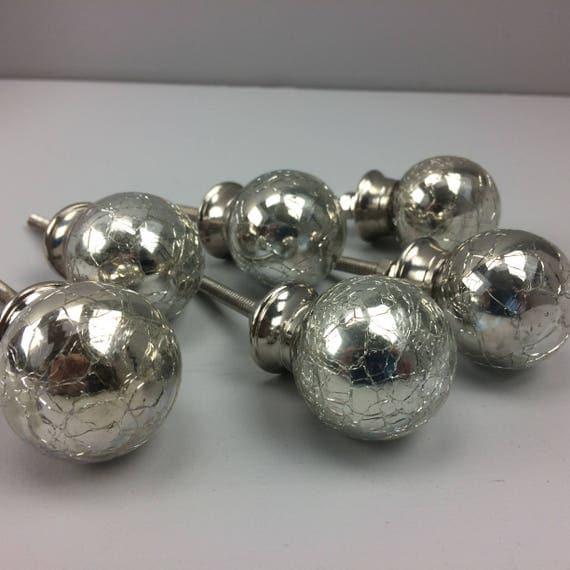 Set Of 8 X Silver Glass Crackle Drawer Knob Pull Home Bedroom Decor From Makeitfabulousstore