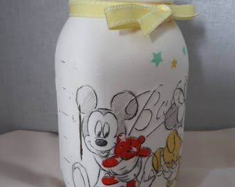 Mickey &  Minnie Mouse: storage jar, money jar, new baby gift.
