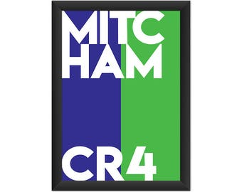 Mitcham Typography CR4 - Giclée Art Print - South London Poster