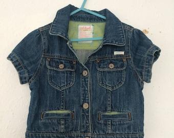 Osh Kosh B'gosh Girls Cropped Classic Short Sleeves Denim Jacket Grunge 2 3 4 Y