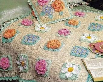 Vintage Crochet Granny Squares Flower Garden Afghan Pattern PDF Instant Digital Download Beautiful Grandmas Flower Field 47x59 Plus Pillow
