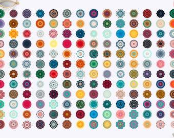 168 Vector Colorful Boho Symbols. Drawing Mystical Mandala Collection. Indian Art. Yoga Background, Wall Art, Eastern Clipart, Digital Image