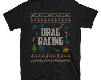 Drag Racing Auto Racing Christmas Ugly Xmas Shirt Christmas Ugly Sweater  Graphic Design
