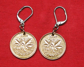 1942 earrings made with real under 1942 Canadians