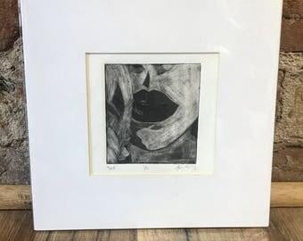 "Mezzotint 'Self' 3x3"", intaglio print, black and white, home decor, fine art, fine art, works on paper, printmaking, studio art, archival"