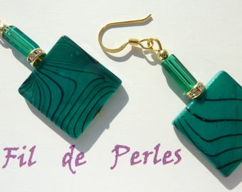 """mother of Pearl turquoise"" gold earrings"