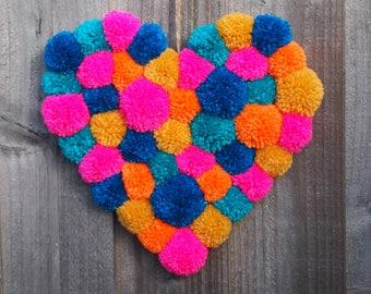 Rainbow Heart, pompom Heart, hanging heart , wall & door hanging heart