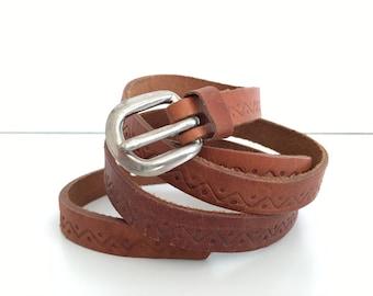 NEVER USED - Genuine leather belt - Vintage small leather women belt - genuine leather women belt - Brown leather belt embossed - Retro belt