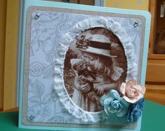 Vintage girl and her bear celebration, birthday