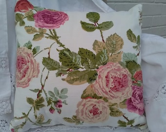 Handmade Cushion Cover. Floral vintage rose pink cream green. Flowers 16 inch